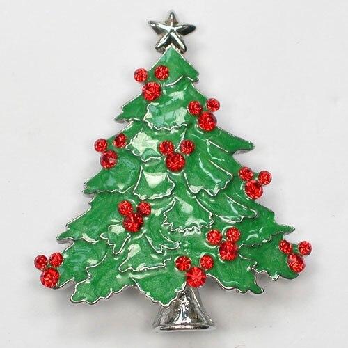 12pcs/lot Christmas Brooch Rhinestone Christmas tree Pin brooches Jewelry Gift CLOVER JEWELLERY