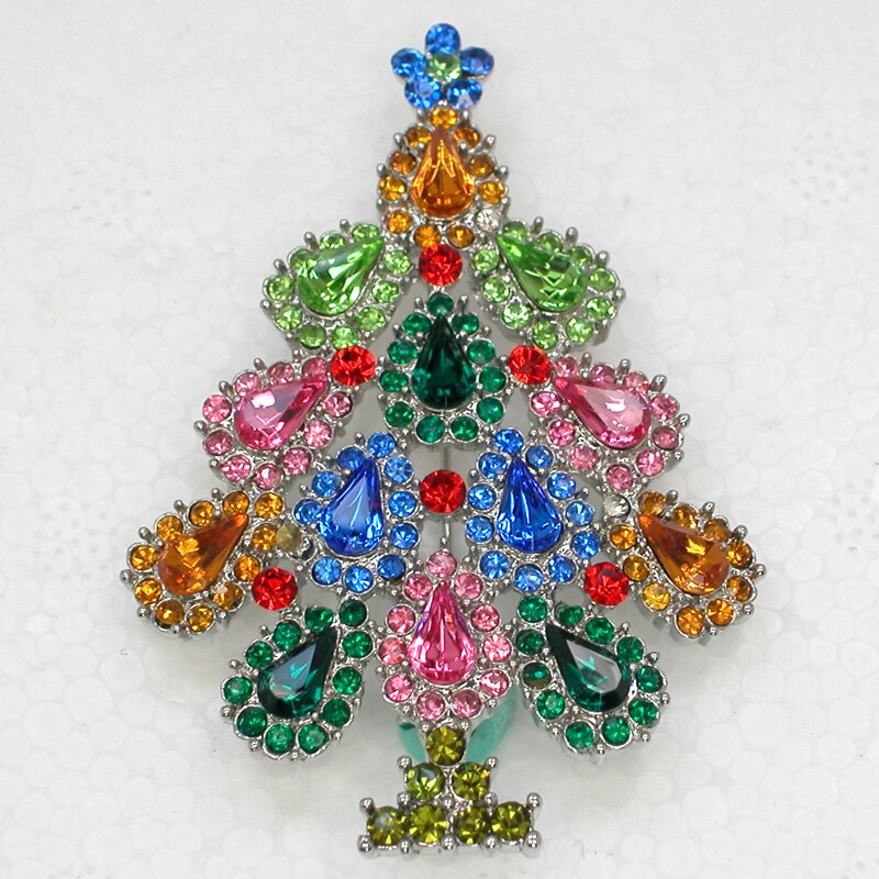 12pcs/lot Wholesale Christmas tree Rhinestone Pin brooches Christmas gift CLOVER JEWELLERY