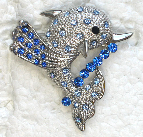 12pcs/lot Wholesale Crystal Rhinestone Dolphins Pin brooches CLOVER JEWELLERY