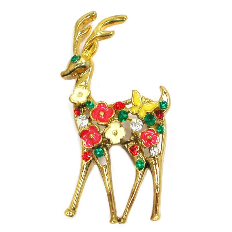 12pcs/lot Wholesale Fashion Brooch Colorful Crystal Rhinestone Enamel Small Sika Deer Pin brooches CLOVER JEWELLERY