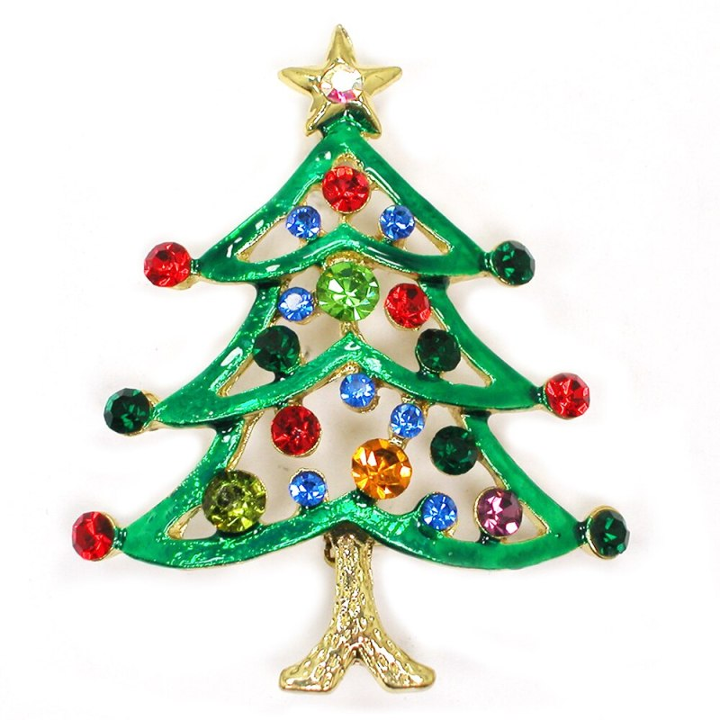 12pcs/lot Wholesale Fashion Brooch Colorful Rhinestone Enamel Christmas tree Pin brooches Christmas Gift CLOVER JEWELLERY