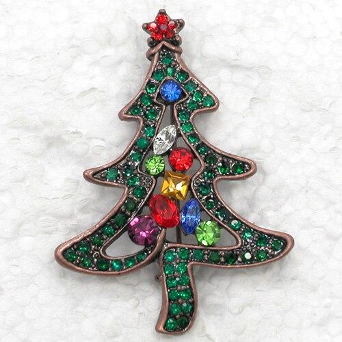 Fashion Brooch Rhinestone Christmas Tree Pin Brooches Christmas Gift (12pcs/Lot Wholesale) CLOVER JEWELLERY