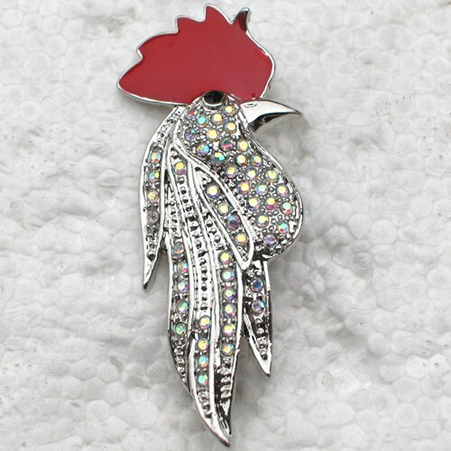 Fashion Brooch Rhinestone Enamel Rooster Pin brooches (12pcs/lot) CLOVER JEWELLERY