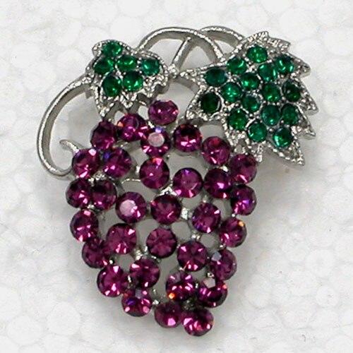12pcs/lot Wholesale Fashion Brooch Rhinestone Grapes Pin brooches CLOVER JEWELLERY