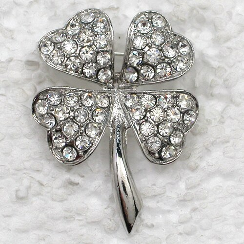 Fashion Brooch Rhinestone Clover Pin Brooches Costume Accessories Jewelry(12pcs/lot) CLOVER JEWELLERY