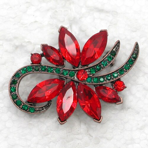 Fashion Brooch Rhinestone Marquise Flower Pin Brooches Christmas Gift (12pcs/lot ) CLOVER JEWELLERY