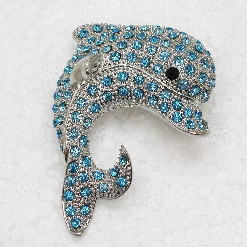 Fashion Brooch Rhinestone Porpoise Costume Pin Brooches & Pendant (12pcs/lot Wholesale ) CLOVER JEWELLERY