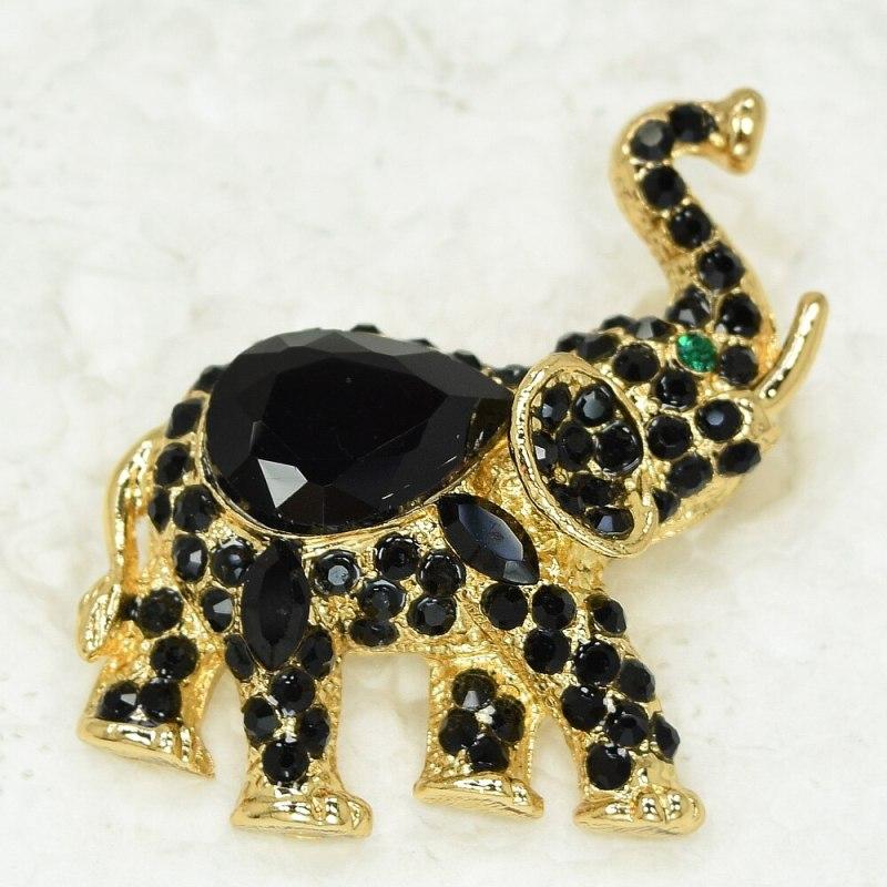 12pcs/lot Wholesale Fashion Brooch Rhinestone Small Elephant Pin brooches CLOVER JEWELLERY