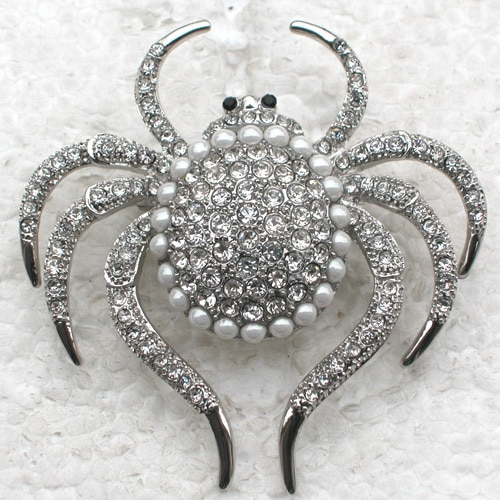 12pcs/lot Wholesale Fashion Brooch Rhinestone Spider Halloween Gift Pin brooches CLOVER JEWELLERY