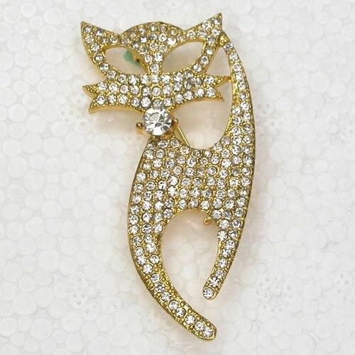 12pcs/lot Fashion brooch Rhinestone Cat Pin Brooches CLOVER JEWELLERY