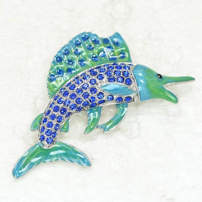12pcs/lot Wholesale Fashion brooch Swordfish Enamel Rhinestone Pin brooches CLOVER JEWELLERY