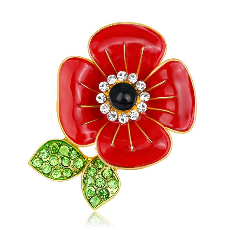 4 Leaf Red Enamel Poppy Flower brooch with Crystals CLOVER JEWELLERY