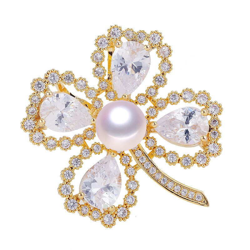 Natural Freshwater Pearl Brooch Four-leaf Grass Pearl Brooch CLOVER JEWELLERY