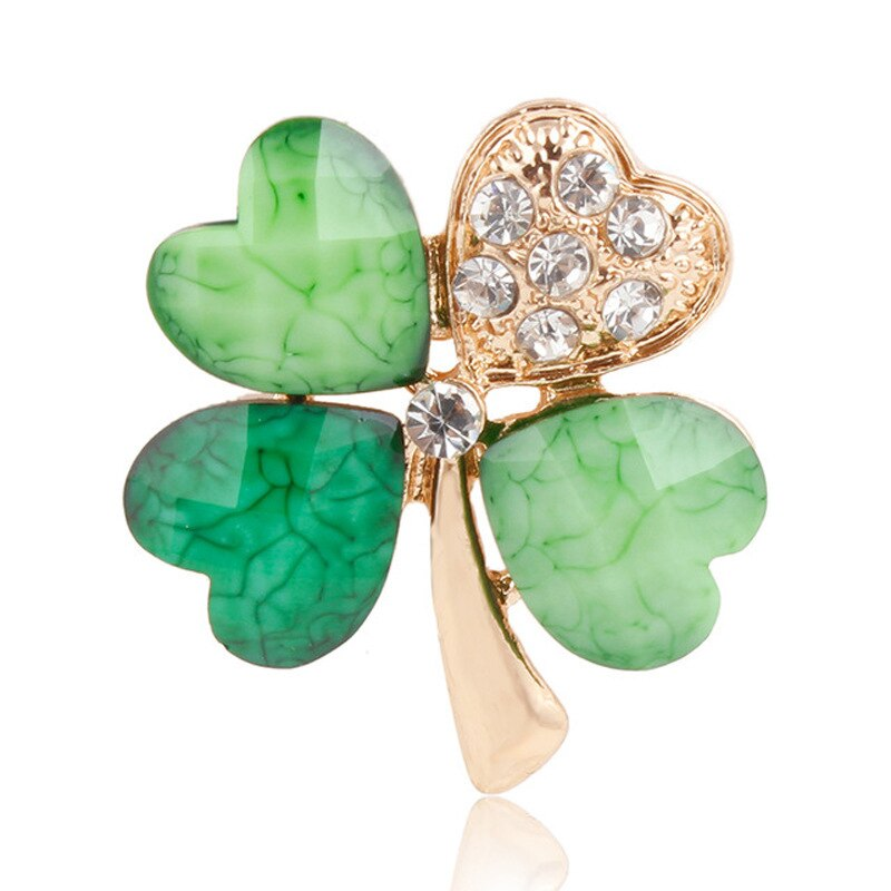 Four Leaf and Rhinestones Lapel Pins or Brooches CLOVER JEWELLERY