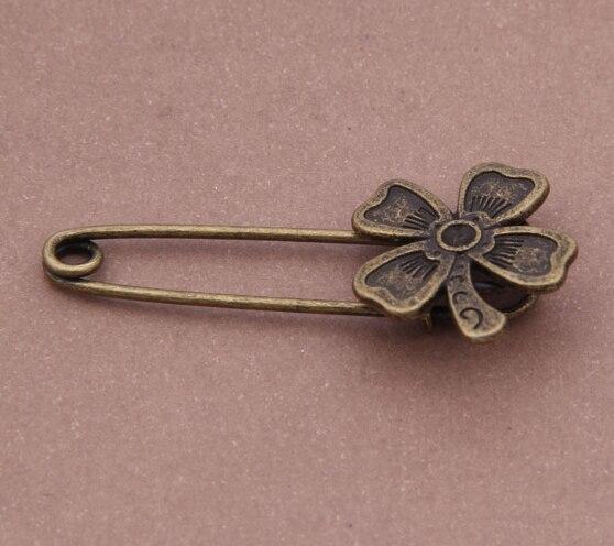Luck Irish Four Leaf Clover Antique Bronze Brooch Pin Handmade Making Diy Accessories(6pcs) CLOVER JEWELLERY