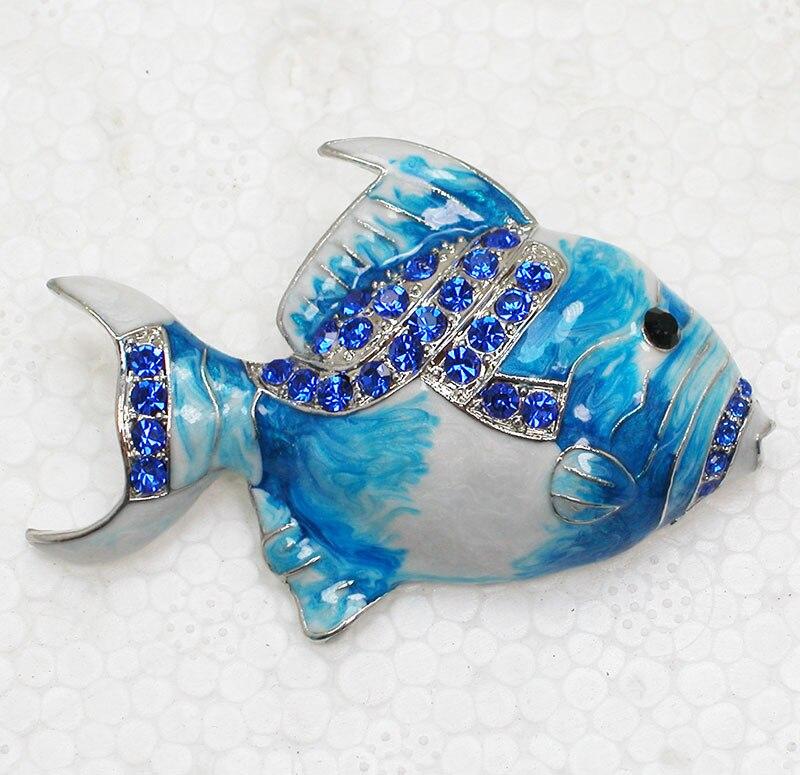 Blue Rhinestone Enamel Brooch pins Fish Pin brooches CLOVER JEWELLERY