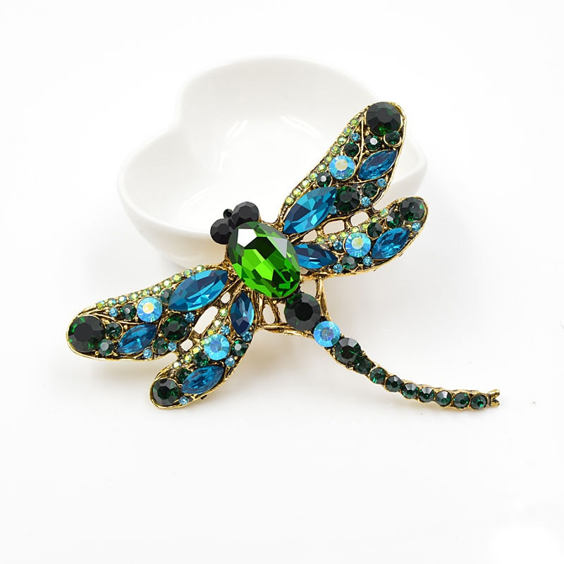Crystal Vintage Dragonfly Brooches for Women Large Insect Brooch Pin Fashion Dress Coat Accessories Cute Jewelry CLOVER JEWELLERY