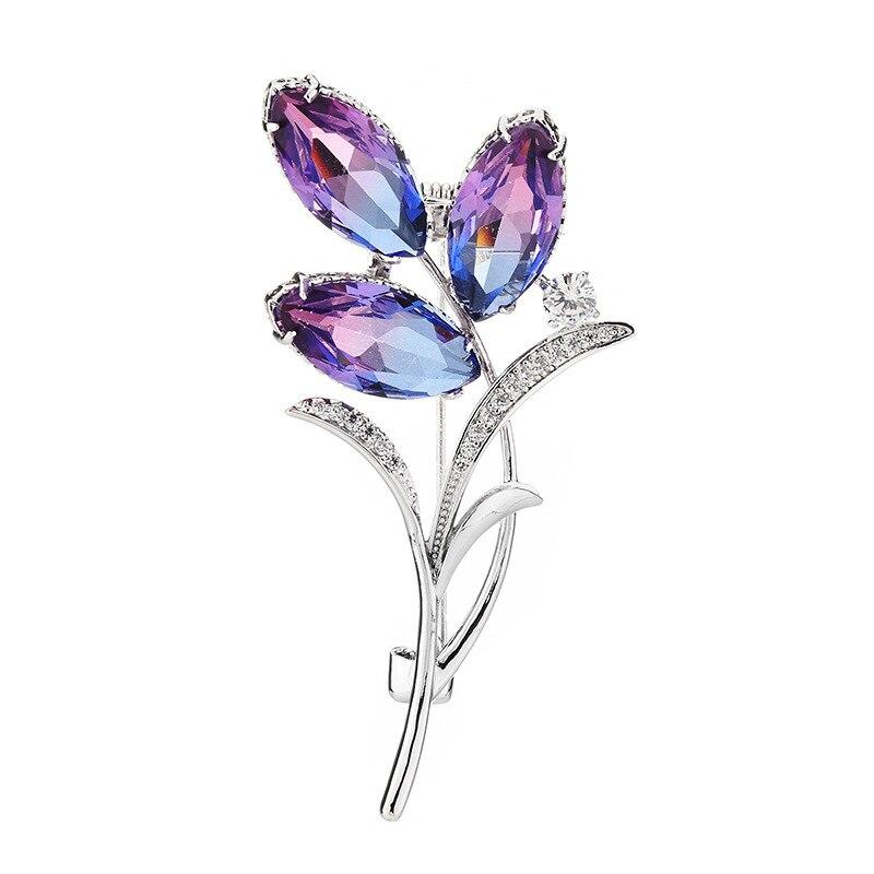 Copper Inlaid Zircon Wedding Costume Jewelry Accessories New Trend Fashion Clover Tourmaline Upscale Elegant Delicate Brooch Pin CLOVER JEWELLERY