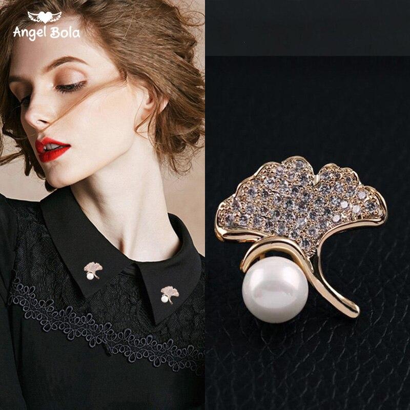 Silver color Rhinestone Ginkgo Leaf Pearl Brooch CLOVER JEWELLERY