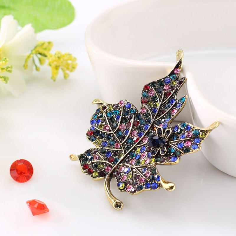 Colorful Rhinestone Maple Leaf Cute Bee Brooch Pin Gift for Ladies Dress Scarf CLOVER JEWELLERY