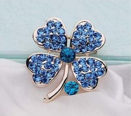 Gold Tone Pink Rhinestone Crystal Small Clover Leaf Flower Pin Brooch CLOVER JEWELLERY