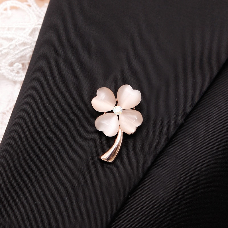Opal Stone Four Leaf Clover Brooch Pin Gold Color Garment Accessories CLOVER JEWELLERY