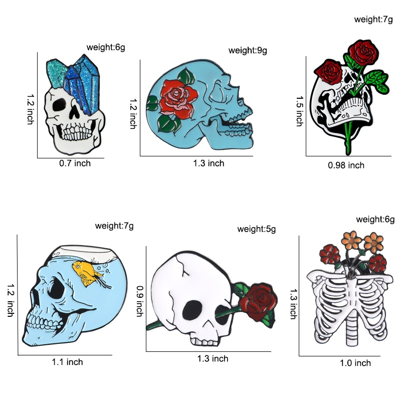 Flower Skull Enamel Pins Collection Skeleton Head Rose Lapel Pins Love and Death Badges Romantic Brooches CLOVER JEWELLERY