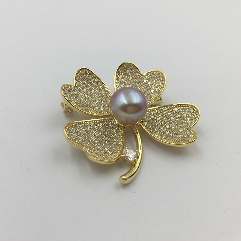 Natural Pearl Four leaves design Brooch lucky Clover Gold plated Brooches CLOVER JEWELLERY