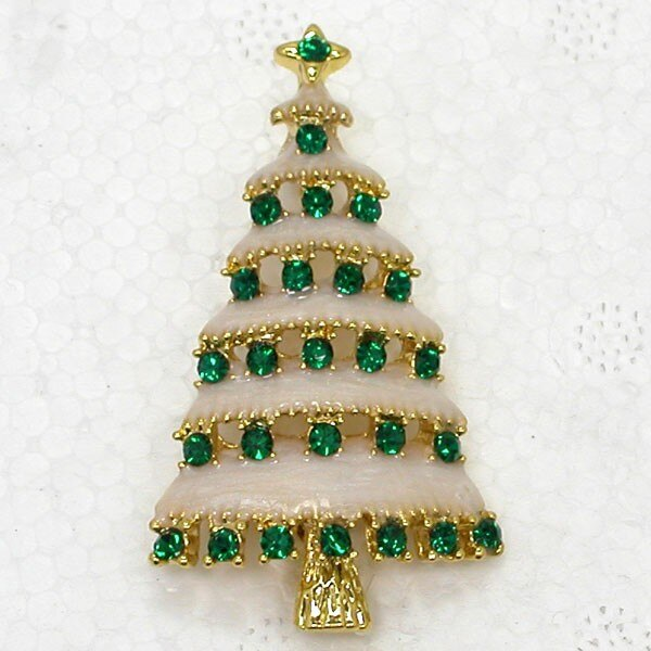 Wholesale Christmas Tree Enamel Rhinestone Pin Brooches CLOVER JEWELLERY