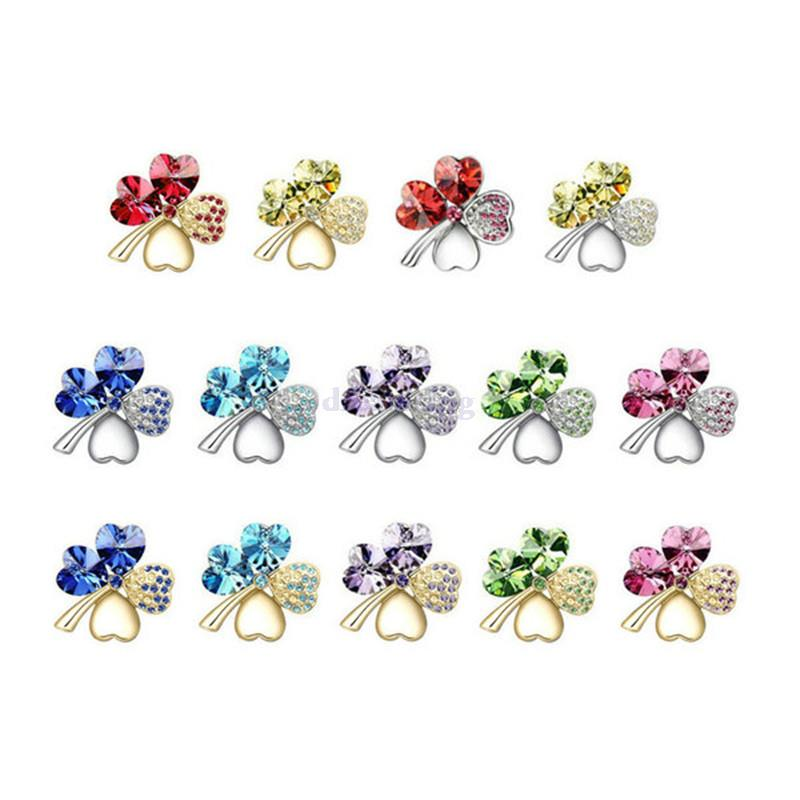 Sweet Lucky Gold/Silver Plated Four Leaf Clover Shape simulated Crystal Cloth Pin Brooch CLOVER JEWELLERY