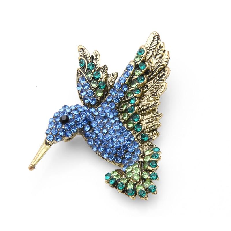 Pink Blue Rhinestone Hummingbird Brooches Women Men Vintage Animal Brooch Pins Gifts CLOVER JEWELLERY