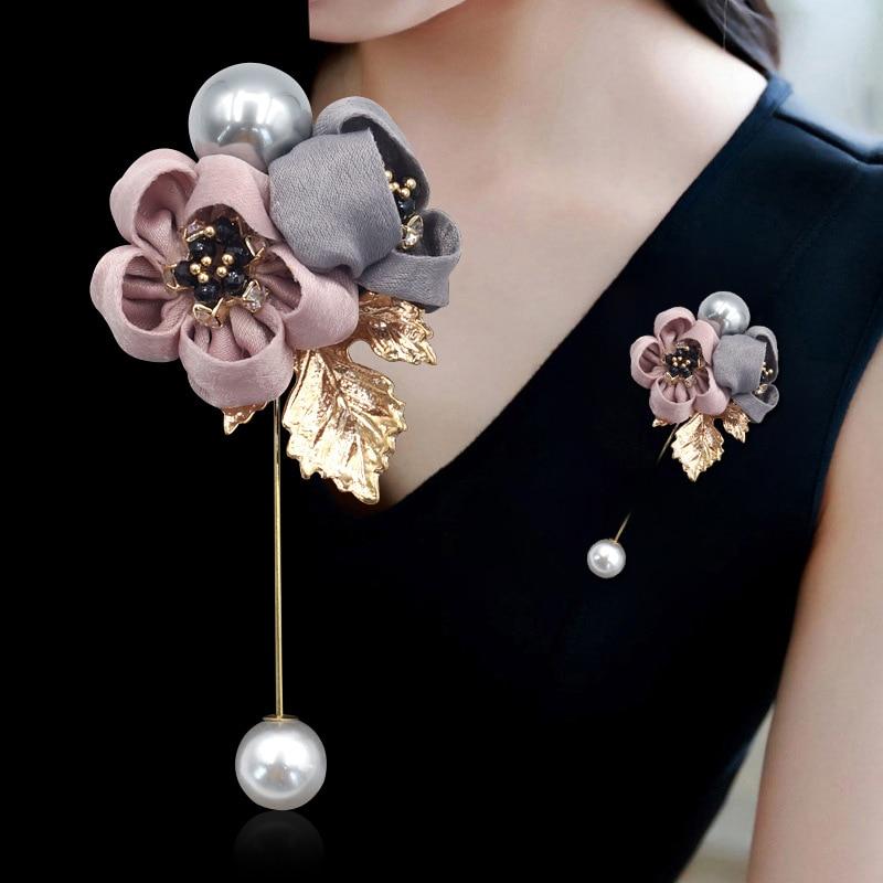 Ladies Cloth Art Pearl Fabric Flower Brooch Pin Cardigan Shirt Shawl Pin Professional Coat Badge Jewelry Accessories CLOVER JEWELLERY