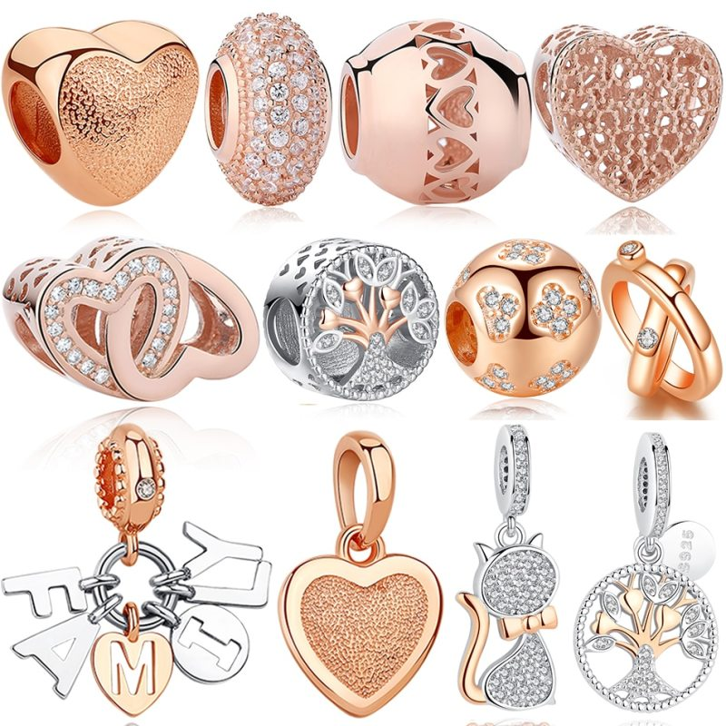 Original 925 Sterling Silver Bead Rose Gold Family Tree Of Love Cat Pendant Charm Fit Pandora Charms Silver 925 Bracelet Jewelry CLOVER JEWELLERY