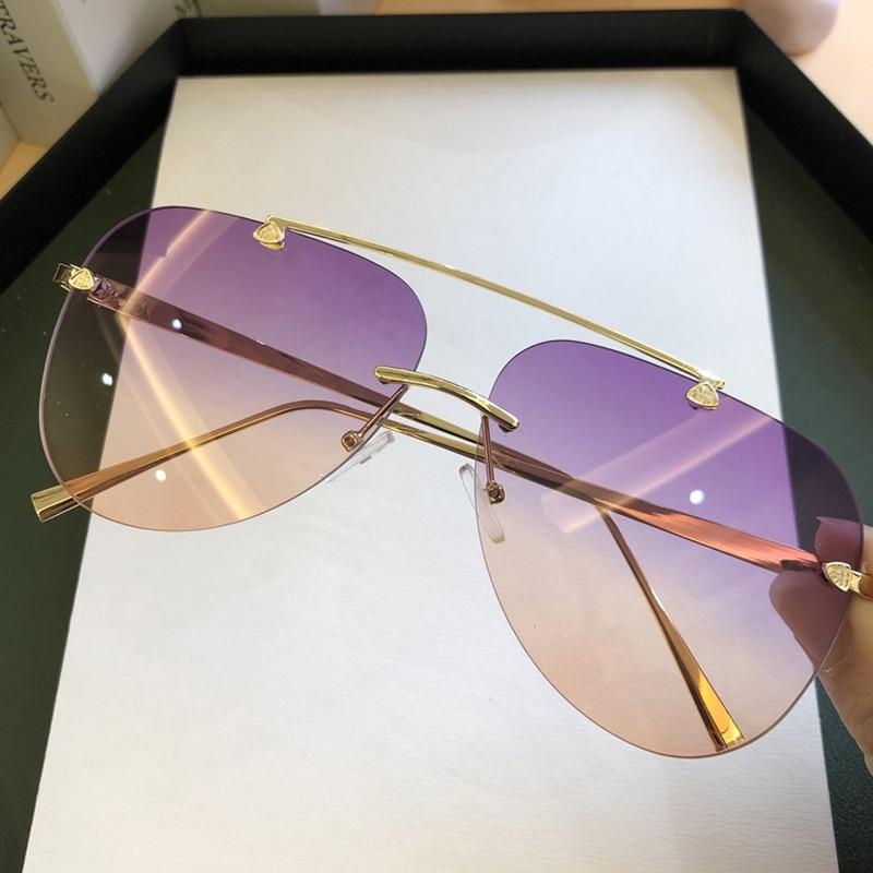 Vintage Rimless Alloy Aviation Pilot Sunglasses For Men CLOVER JEWELLERY