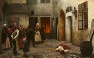Murder in the House, by Jakub Schikaneder. Victim on the floor.