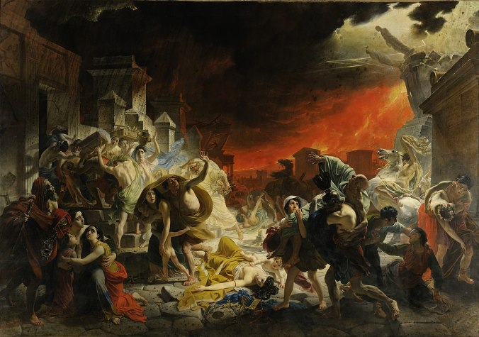 The Last Day of Pompeii - Karl Briullov. The painting is depicted on the cover of the book.