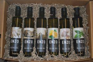 The six varieties of Enzo Olive Oil—Delicate, Medium, Bold, Meyer Lemon, Garlic and Basil.