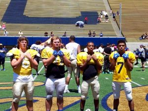 Photo courtesy of Melissa Rice Tanner Rice (far left) of Clovis High attended many football camps this summer including a camp held at Cal Berkeley. Rice is pictured left with Clovis teammates Rice, Samir Allen, Christian Copeland and Dyllon Hudec.