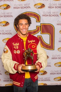 Photo courtesy of Clovis West Clovis West senior linebacker Caleb Kelly is the 2015 winner of the the high school Dick Butkus Award, given to the best high school linebacker in the nation. He was selected by a National voting panel of 50 members including NFL scouts, college and pro coaches and prominent members of the media.