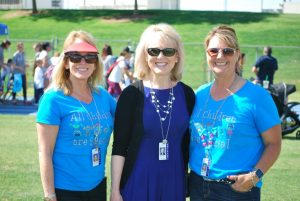 CUSD Superintendent Janet Young (middle) with Jennifer Kersten (right) and Katie Kraetsch (left).