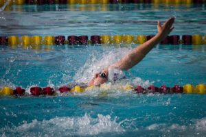 Photo by Ron Webb Buchanan junior Stephanie Bartel placed sixth in the 200 IM and eighth in the 100 backstroke. Bartel, didn't start swimming competitively until 8th grade after suffering a knee injury in track season.