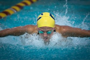 Photo by Ron Webb Clovis freshman Averee Preble swims in the 100 butterfly where she placed eleventh. She did medal when she placed fifth in the 500 free.