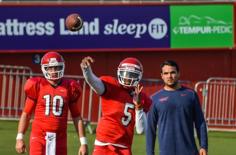 Freshman Fresno State quarterback No. 5 Chason Virgil is the heir apparent to start the season. But, Virgil is being pushed by No. 10. Zach Kline a fifth year player and Cal transfer.