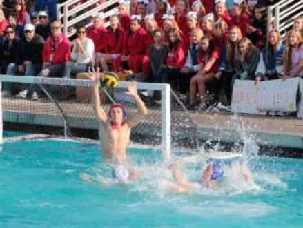 Buchanan goalie Kyle McKinney blocks a shot in the Bears 8-3 win over Clovis for the Division 1 Central Section title. McKinney, a senior, had 12 saves on the day. [Photo by Ron Sundquist]