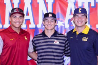 Members of the 2016 National championship Buchanan baseball team, three Bears signed Division 1 scholarship offers this year: Jamal O'Guinn (USC), Zach Presno (Fresno State) and Quentin Selma (Cal). [Photo by Bobby Medellin]