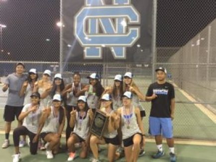 The Clovis North girls' tennis team won the D-1 Central Section championship 5-4 over two-time defending champion Buchanan. It was the Broncos first D-1 championship. [Photo contributed]