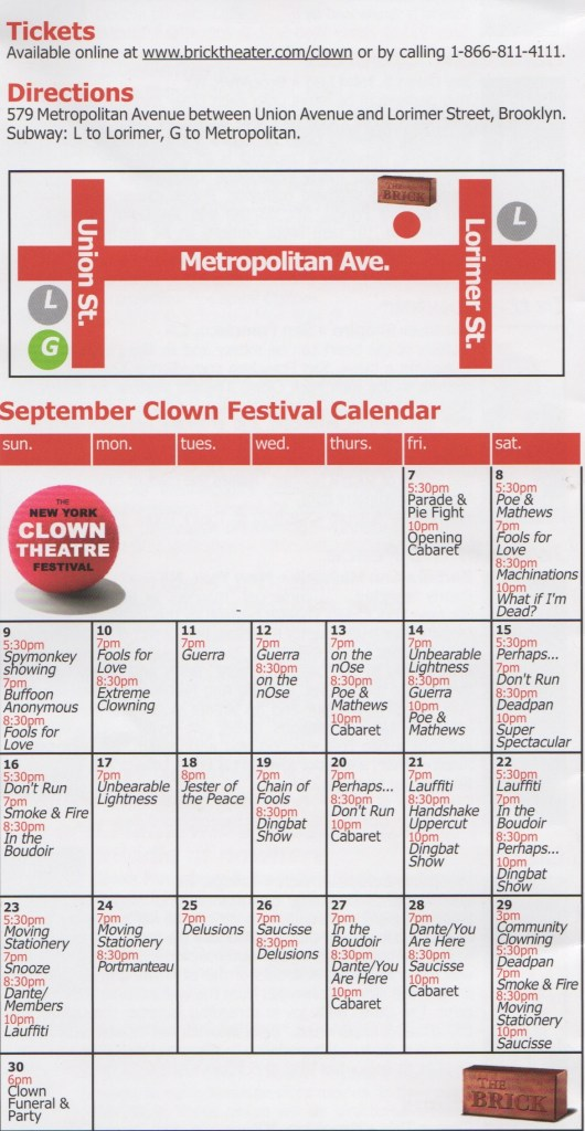 NY Clown Theater Festival 2012 Schedule