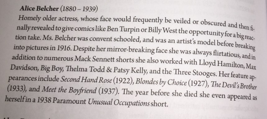 Excerpt of a bio of Alice Belcher from Steve Massa's Slapstick Divas