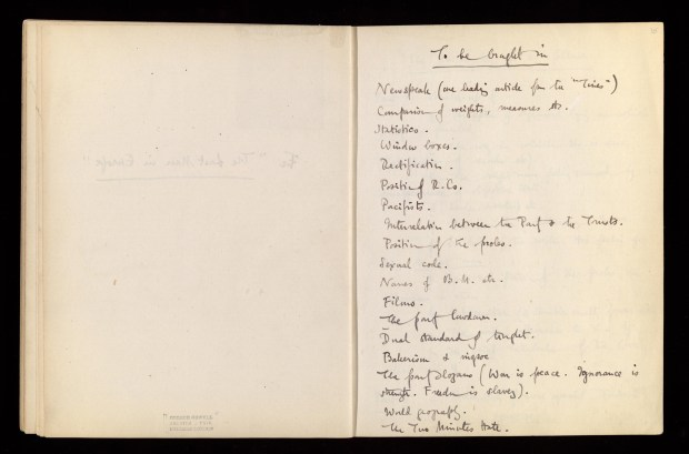Notes de George Orwell pour le roman 1984 (avec l'aimable autorisation de h kind permission of the la Fondation Sonia Brownell Orwell)