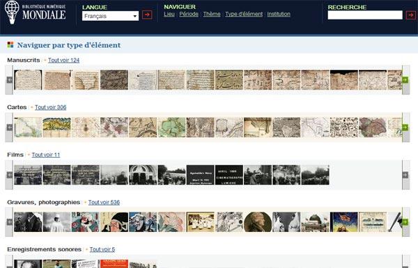 Bibliotheque numerique mondiale capture par type